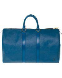Louis Vuitton Sac XL en cuir cuir Keepall bleu