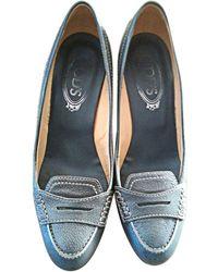 Tod's - Mocassins cuir bleu - Lyst