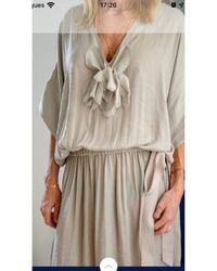 Lanvin Robe mi-longue soie beige - Neutre