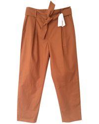 Sandro - Pantalon carotte coton marron - Lyst