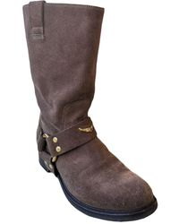 Zadig & Voltaire - Bottines & low boots plates daim marron - Lyst