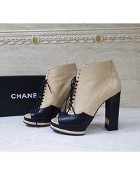 Chanel Bottines & low boots à talons cuir multicolore