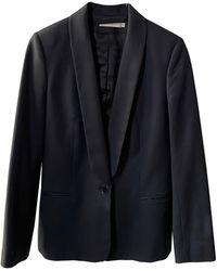 Sandro Blazer, veste tailleur laine noir