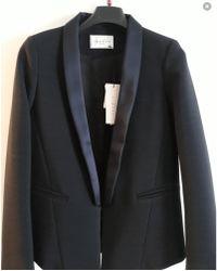 Sandro Blazer, veste tailleur polyester bleu