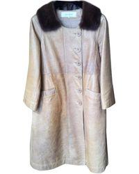 Gerard Darel - Manteau en cuir cuir beige - Lyst