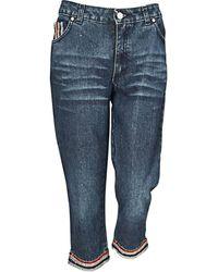 Blumarine - Jeans droit coton bleu - Lyst