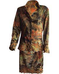 Christian Lacroix Tailleur jupe velours multicolore