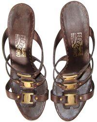 Ferragamo - Mules cuir marron - Lyst