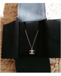 Chanel Pendentif, collier pendentif laiton argent - Métallisé