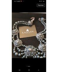 Lanvin Collier perle bleu