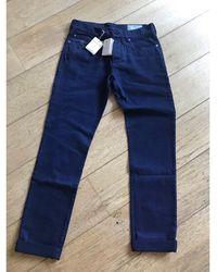 Brunello Cucinelli Jeans droit coton bleu