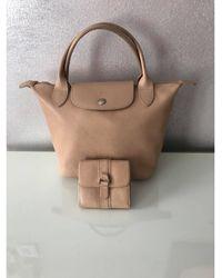 Longchamp - Sac à main en cuir cuir Pliage beige - Lyst