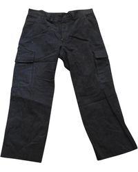 Lanvin - Pantalon droit coton marron - Lyst