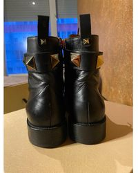 Valentino - Bottines & low boots plates cuir noir - Lyst