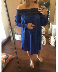 Maje Robe mi-longue coton bleu