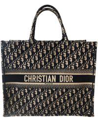 Dior Sac XL en tissu coton bleu