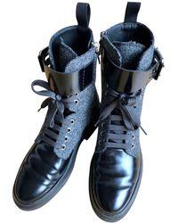 Tod's - Bottes motards cuir gris - Lyst
