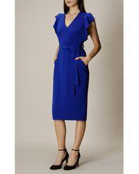 Karen Millen Robe mi-longue polyester bleu