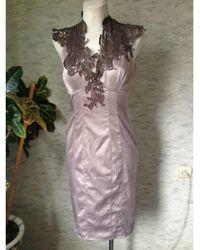 Karen Millen Robe mi-longue elasthane beige - Neutre