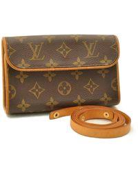Louis Vuitton Sac en bandoulière en tissu toile marron