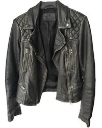 AllSaints - Veste en cuir cuir noir - Lyst