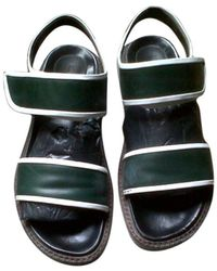 Marni Sandales plates cuir vert