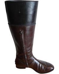 Tod's - Bottes cavalières cuir marron - Lyst