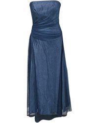 Vera Wang Robe longue satin bleu