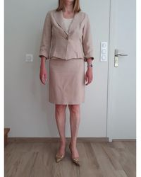Gerard Darel Tailleur jupe lin beige - Neutre