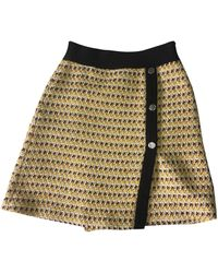 Maje - Jupe courte laine mélangée jaune - Lyst
