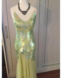 Jenny Packham Robe longue soie vert