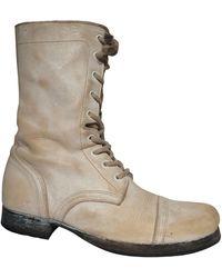 AllSaints Bottines & low boots plates cuir blanc