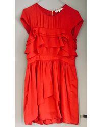 Sandro - Robe courte soie rouge - Lyst