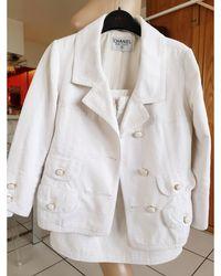 Chanel Tailleur jupe coton blanc