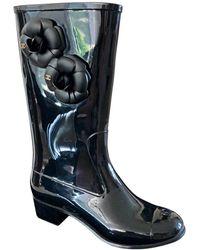Chanel Bottes de pluie caoutchouc noir