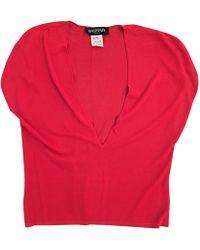 Balmain Top, tee-shirt viscose rouge
