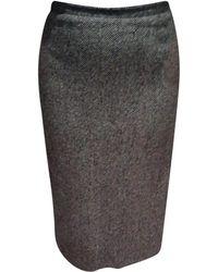 Burberry Jupe mi-longue laine multicolore - Gris