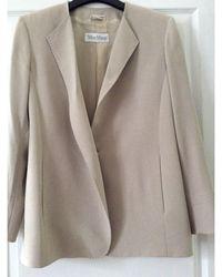 Max Mara - Blazer, veste tailleur polyester beige - Lyst