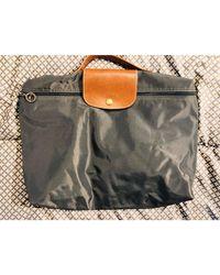 Longchamp Porte documents, serviette synthétique Pliage gris