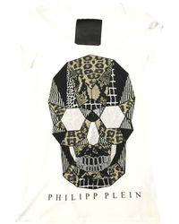 Philipp Plein - Top, tee-shirt coton blanc - Lyst