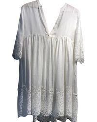 Sandro - Robe courte coton blanc - Lyst