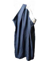 Sandro - Robe courte soie bleu - Lyst