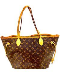 Louis Vuitton Sac à main en cuir cuir Neverfull marron