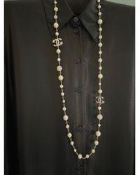 Chanel Sautoir perle argent - Métallisé