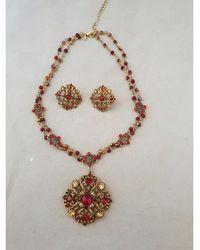 Nina Ricci Parure bijoux plaqué or rouge