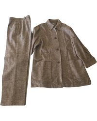 Max Mara - Tailleur pantalon laine marron - Lyst