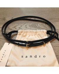 Sandro Ceinture fine cuir noir Taille unique