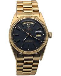 Rolex Montre au poignet or jaune DAY-DATE noir