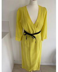 Cefinn Robe mi-longue lin jaune
