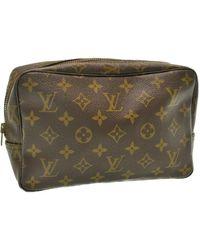 Louis Vuitton Sac pochette en tissu toile marron